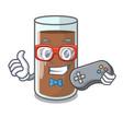 gamer fresh chocolate splash on pouring mascot vector image vector image