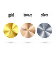 golden silver and bronze radial gradient set vector image vector image