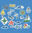 hand-drawn stickers marine theme vector image vector image