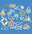 hand-drawn stickers of marine theme vector image