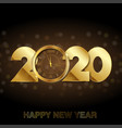 happy new year card with gold clock 2020 vector image vector image