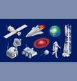 isometric spaceships space shuttle cosmic rocket vector image