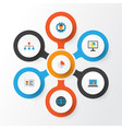 job flat icons set collection of hierarchy vector image