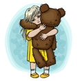 Little blond girl with teddy bear vector image vector image