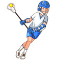 Man with stick doing lacrosse vector image