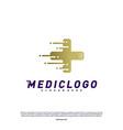 medical tech logo design concept colorful fast vector image vector image