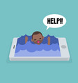 mobile addiction concept young black man drowning vector image vector image
