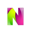 N letter green and pink logo design template vector image vector image