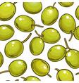 olive fruit pattern on color background vector image vector image