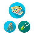 painter and drawing flat icons in set collection vector image vector image