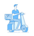 pizza delivery boy riding motorbike scooter vector image