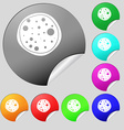 Pizza Icon Set of eight multi colored round vector image vector image