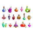 potion bottles with magic liquid elixir of witch vector image