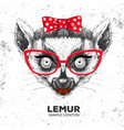 retro hipster animal lemur hand drawing muzzle vector image vector image