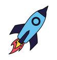 rocket launching on white background vector image