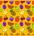 seamless pattern colorful cute fruits characters vector image vector image