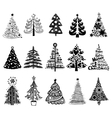 set dreawn christmas trees vector image vector image