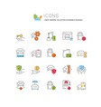 set line icons automobile business vector image vector image