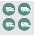 set of icons with the delivery car of goods vector image