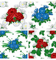 set of seamless patterns of flowers vector image