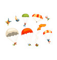 skydivers flying with parachutes set extreme vector image vector image