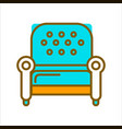 stylish armchair with blue leather upholstery on vector image