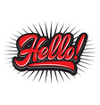 stylish with hello lettering vector image vector image