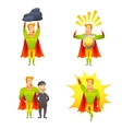 Superhero cartoon character power icons set vector image vector image