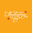 thanksgiving day lettering on orange background vector image vector image
