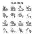 tree forest park icon set in thin line style vector image