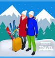 trip on a winter vacation in the mountains winter vector image vector image