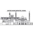 united arab emirates dubai line skyline vector image vector image