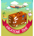 Vacation time with luggage and plane vector image