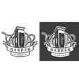 vintage barbershop monochrome badge vector image vector image