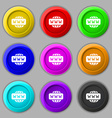 WWW icon sign symbol on nine round colourful vector image