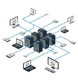 Data isometric set and network elements vector image