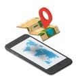 GPS navigation isometric vector image
