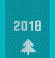 2018 new year knitted template green background vector image vector image