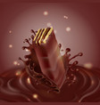 banner with chocolate waffle and splash vector image vector image