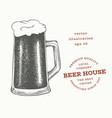 beer glass mug hand drawn pub beverage engraved vector image vector image