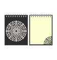 Black cover notebook with round pattern vector image vector image