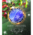 Blue Christmas bauble with fir branches and tinsel vector image vector image