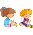 boy and girl exercising vector image