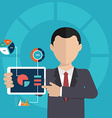 Business man pointing at chart and presentation vector image