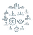 cactus logo icons set simple style vector image vector image