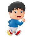 Cartoon little kid running vector image