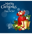 Christmas gift and present greeting card design vector image