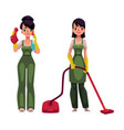 cleaning service girls in overalls with vacuum vector image vector image