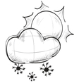Cloud with snowflakes and sun weather icon vector image vector image