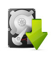 computer download concept with hard drive disk vector image vector image